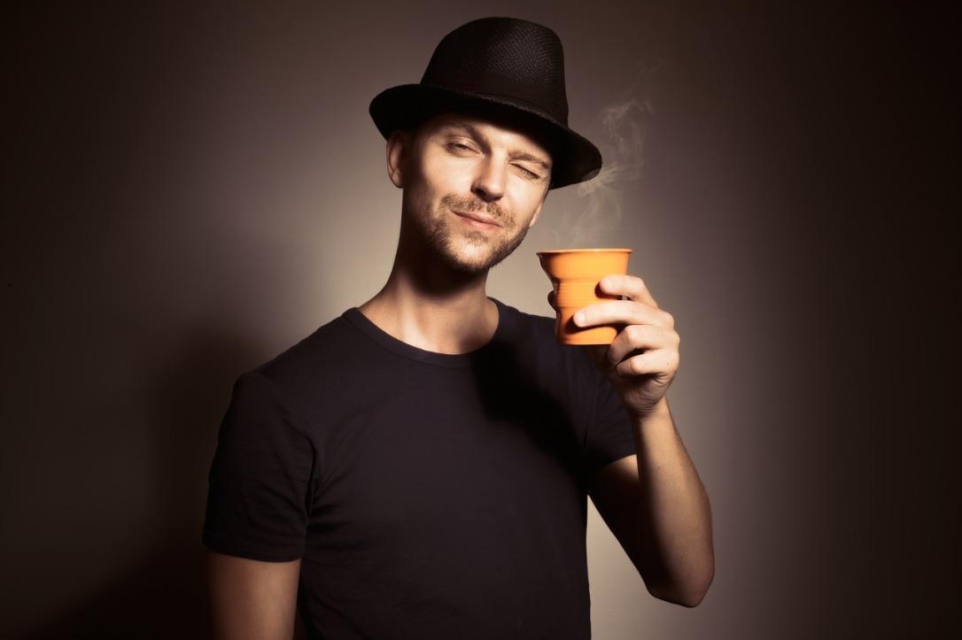 happy coffee drinker
